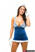 Busty Sailor Carmen Stripping In The Studio 01