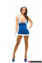 Busty Sailor Carmen Stripping In The Studio 07